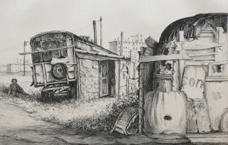 Jürg Kreienbühl La roulotte d'Ammrioui 1977 lithograph lithographie