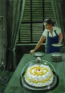 Sergio Ceccotti Un pomeriggio, una torta 2018 painting peinture