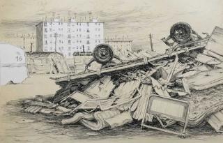 Jürg Kreienbühl La roulotte détruite 1977 lithograph lithographie