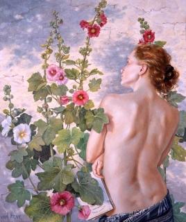 Francine Van Hove Les Roses trémières 2012 painting peinture