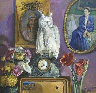 Jürg Kreienbühl Nature morte à la chouette 2003 painting peinture