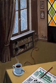 Sergio Ceccotti Enigmi in un giorno di pioggia 2018 painting peinture