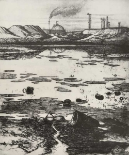 Jürg Kreienbühl Grande pollution 1978 etching gravure