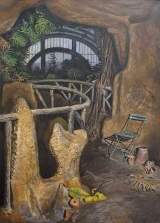 Jürg Kreienbühl Serre nocturne au Jardin des Plantes 1990 painting peinture