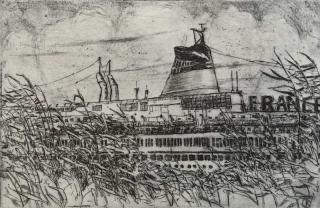 Jürg Kreeinbühl La cheminée du France 1978 etching gravure
