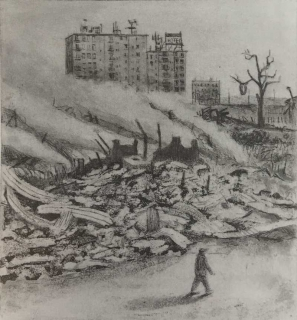 Jürg Kreienbühl Destruction du bidonville 1976 1977 etching gravure