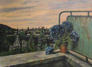 Jürg Kreienbühl Hortensia et paysage suisse 1953 painting peinture
