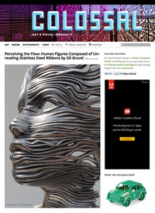 Perceiving the Flow: Human Figures Composed of Unraveling Stainless Steel Ribbons by Gil Bruvel