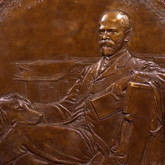"""AUGUSTUS SAINT-GAUDENS (1848–1907), """"Dean Sage,"""" about 1904–06. Bronze relief, 33 3/8 in. diameter. Detail."""