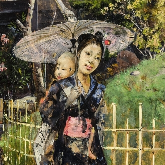 HARRY HUMPHREY MOORE (1844–1926), Japanese Girl Promenading, 1881. Oil on wood panel, 10 7/8 x 6 1/4 in. (detail)