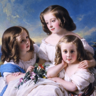 HERMANN FIDEL WINTERHALTER (1808–1891), Trois demoiselles de la famille de Chateaubourg, 1850. Oil on canvas (oval), 40 1/4 x 32 in. (detail).
