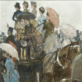 CHILDE HASSAM (1859–1935), Four-in-Hand at the Grand Prix, Paris, 1889. Pastel on paper, 14 x 10 in. (detail)