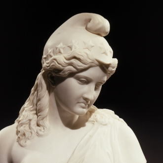 JAMES HENRY HASELTINE (1833–1907), America Honoring Her Fallen Brave, 1865. Marble bust, 29 1/2 in. high (detail)