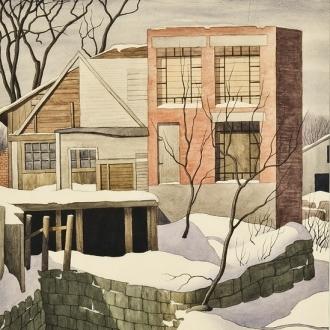 "ZAMA VANESSA HELDER (1903–1968), ""Winter in Vermont (Alterations),"" c. 1948.  Watercolor on paper, 19 1/2 x 14 3/4 in.. (detail)."