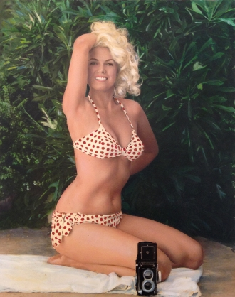 Bunny Yeager, Self Portrait in Polka Dot Bikini with Rolleicord Camera, 1963