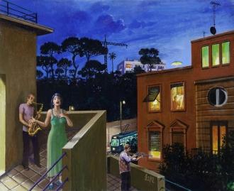Sergio Ceccotti Canzone della sera painting peinture