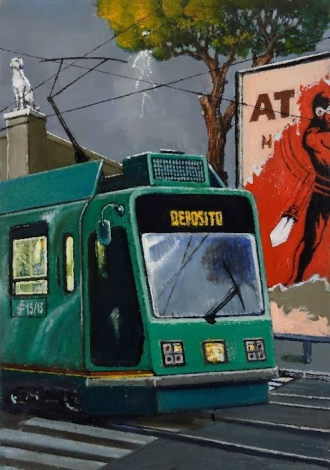 Sergio Ceccotti Scena urbana con tram painting peinture