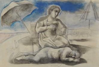 Monique de Roux Femme et homme endormi drawing dessin