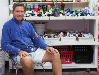 J. Steven Manolis in his painting studio Manolis Projects in Miami, Florida