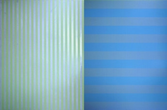 """BLUE GREEN GREY, 1999 Acrylic on canvas  Two panels, 78 x 60"""" 78"""" x 120"""" Overall Size Private Collection"""