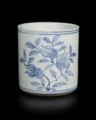 Blue And White Decorated Porcelain Brush Holder