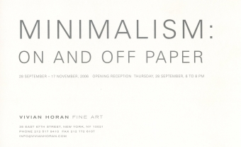 Minimalism: On and Off Paper