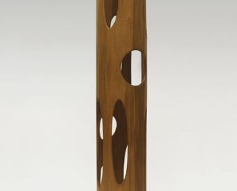 "Ralph Dorazio's artwork ""Tall cylinder with cutouts"""
