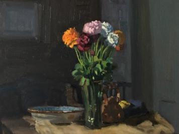 Giovanni Casadei, Garden Flowers, Oil On Panel