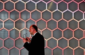 Hexagonal Grid, a constantly changing LED sculpture by renowned artist Leo Villareal