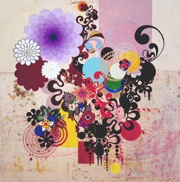 BEATRIZ MILHAZES, Mariposa, 2004, acrylic on canvas, 98 X 98 inches