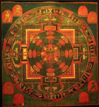 Mandala of Chakrasamvara Paramasukha, Tibet, Late 16th Century, mineral colors on sized fabric, attributed to the Sakya Order