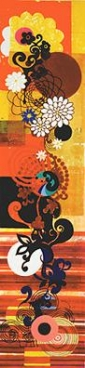BEATRIZ MILHAZES, Santo Cristo, 2004, Acrylic on canvas, 117 3/8 X 27 3/8 inches