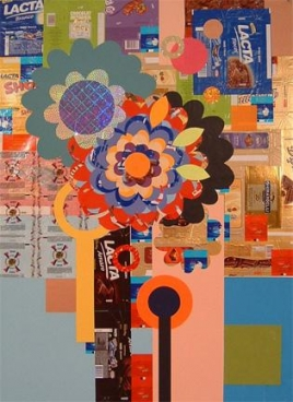 BEATRIZ MILHAZES, Cacao, 2004, Collage on paper, 47 5/8 X 34 5/8 inches