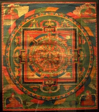 Vajrasattva Mandala Thangka, Tibet, 17th Century, Mineral colors on sized fabric, Sakya Order