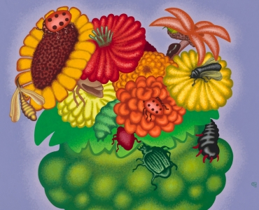 Painting by Peter Saul titled Bowl of Flowers with Insects from 2020