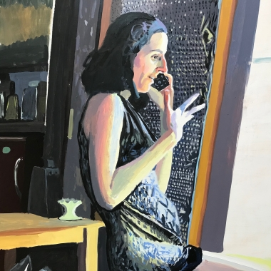 Detail of Chelsea Gibson painting titled Jessica in My Kitchen in July, 2019, Oil on panel 40 x 60 inches imagery caucasian women talking on phone in kitchen
