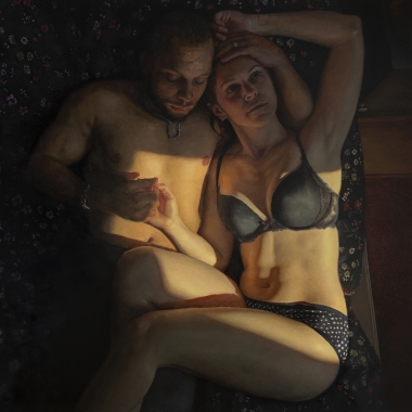 Michelle Doll painting titled Couple (CR1_Macro) , 2019, Oil on Canvas 60 x 60 in imagery reclining semi nude couple