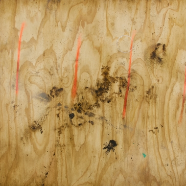 Anthony Adcock painting tilted Marked Out created in 2016 medium Oil on ACM aluminum composite material measuring 48 x 48 in composition looks like old distressed plywood with orange, brown and blue stains