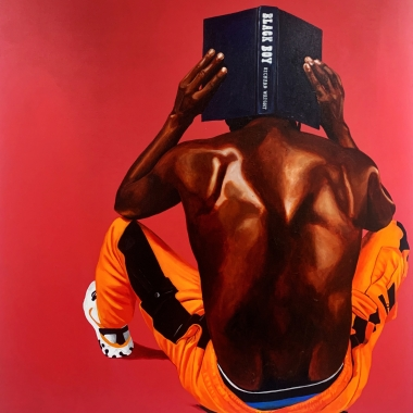 """Painting by Fahamu Pecou measuring 60"""" x 48"""" featuring African American male figure sitting on gas can balancing a stick on his head with the novel Things Fall Apart by Chinua Achebe and a figurine"""