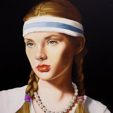 "Tara Lewis painting titled ""As If""  2019, Oil on canvas measuring 30 x 24 in.  The image is of a young woman with blonde hair and pigtails wearing a pearl necklace, blue and white striped headband"