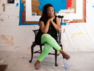 Image of the artist Tomashi Jackson in her studio at The Watermill Center, June 2021. Photo: Copyright Jessica Dalene, courtesy of The Watermill Center
