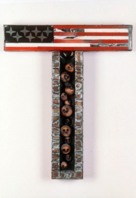 "John Outterbridge, ""Traditional Hang-Up, Containment Series"", 1969, mixed media, 30 by 25 by 3 inches"