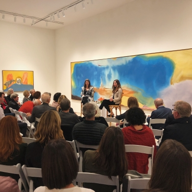Sarah Roberts (left) and Suzanne Hudson (right) at Berggruen Gallery on November 6, 2019