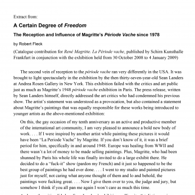 A Certain Degree of Freedom: The Reception and Influence of Magritte's Période Vache since 1978