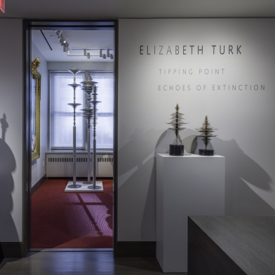 exhibition title on gallery wall with three stainless steel sculptures through the doorway and two bronzes on a pedestal