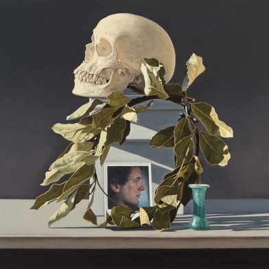 a still life painting by David Ligare of a skull with a laurel wreath, Roman tear vial and a polaroid photograph of a man
