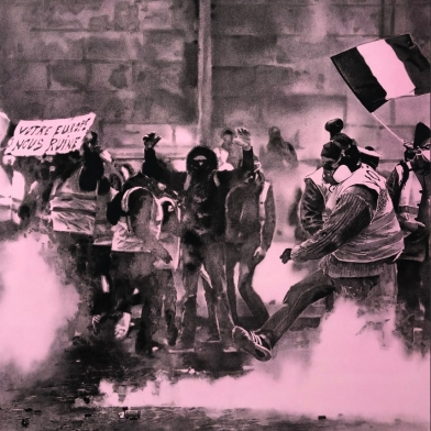 a hand-drawn image of a crowd of protestors on a hot-pink background by Andy Mister