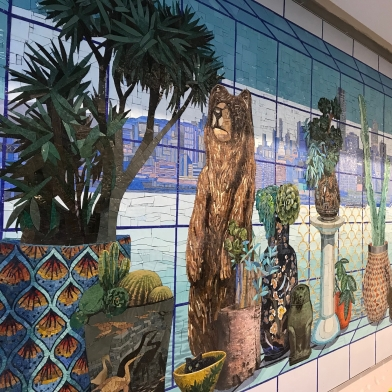 a detail shot of Robert Minervini's mosiac mural installed in the new terminal at SFO airport