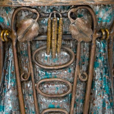 Art Deco Art Glass & Decorated Wrought Iron Vase