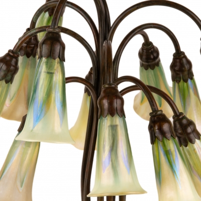 Twelve Light Pulled Feather Lily Table Lamp